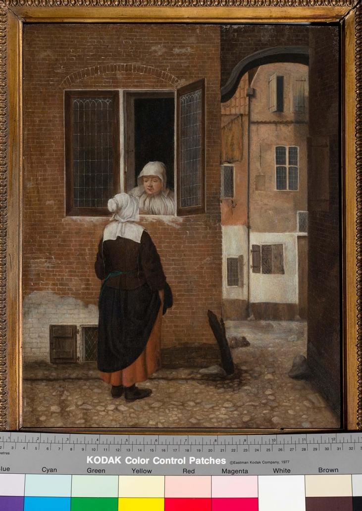 """Jacobus Vrel, Delft ca. 1660 """"Zwei Häuslerinnen im Gespräch"""" Museum Heylshof / Worms"""