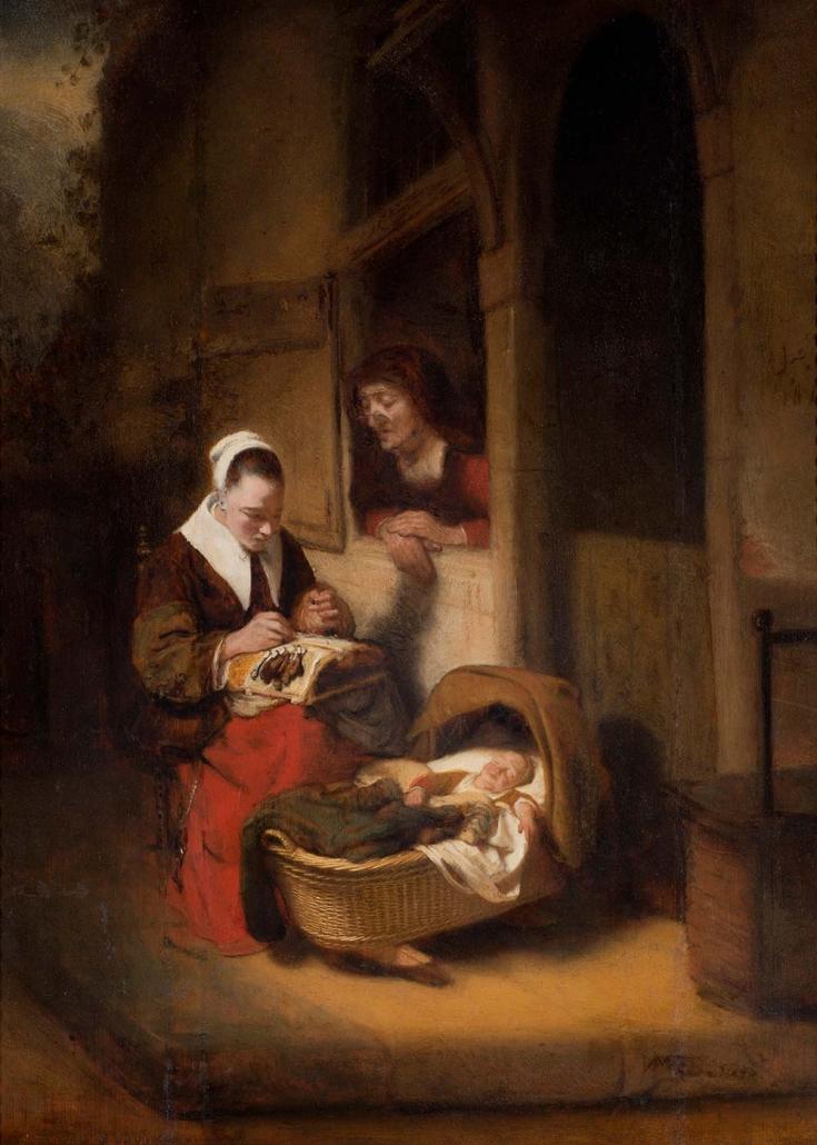 """Nicolaes Maes, Dordrecht 1634 - Amsterdam 1693) """"Junge Klöpplerin und alte Frau bei einer Krippe vor der Haustür"""" Museum Heylshof / Worms"""