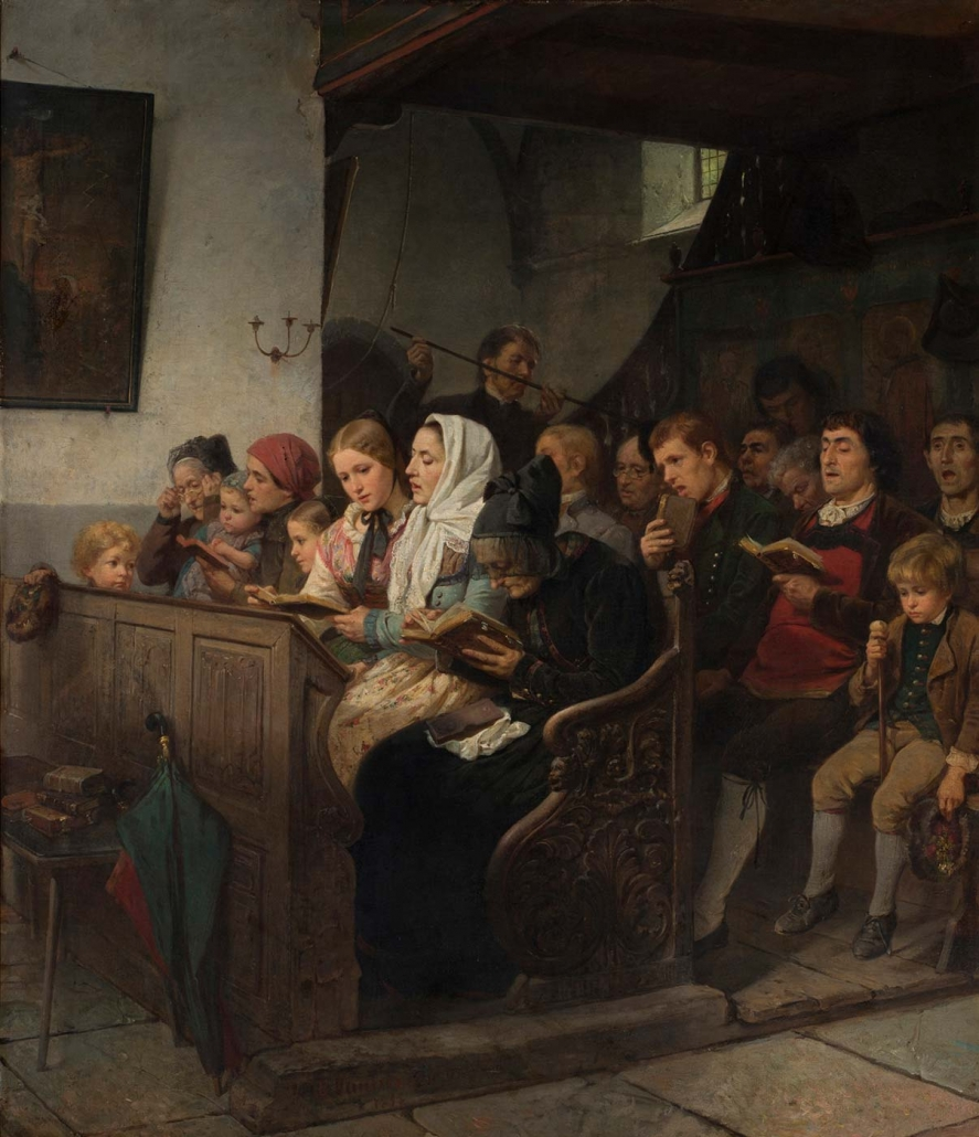 """Marc Louis Benjamin Vautier, Morges am Genfer See 1829 - Düsseldorf 1898 """"Dorfkirche mit Andächtigen"""" Museum Heylshof / Worms"""