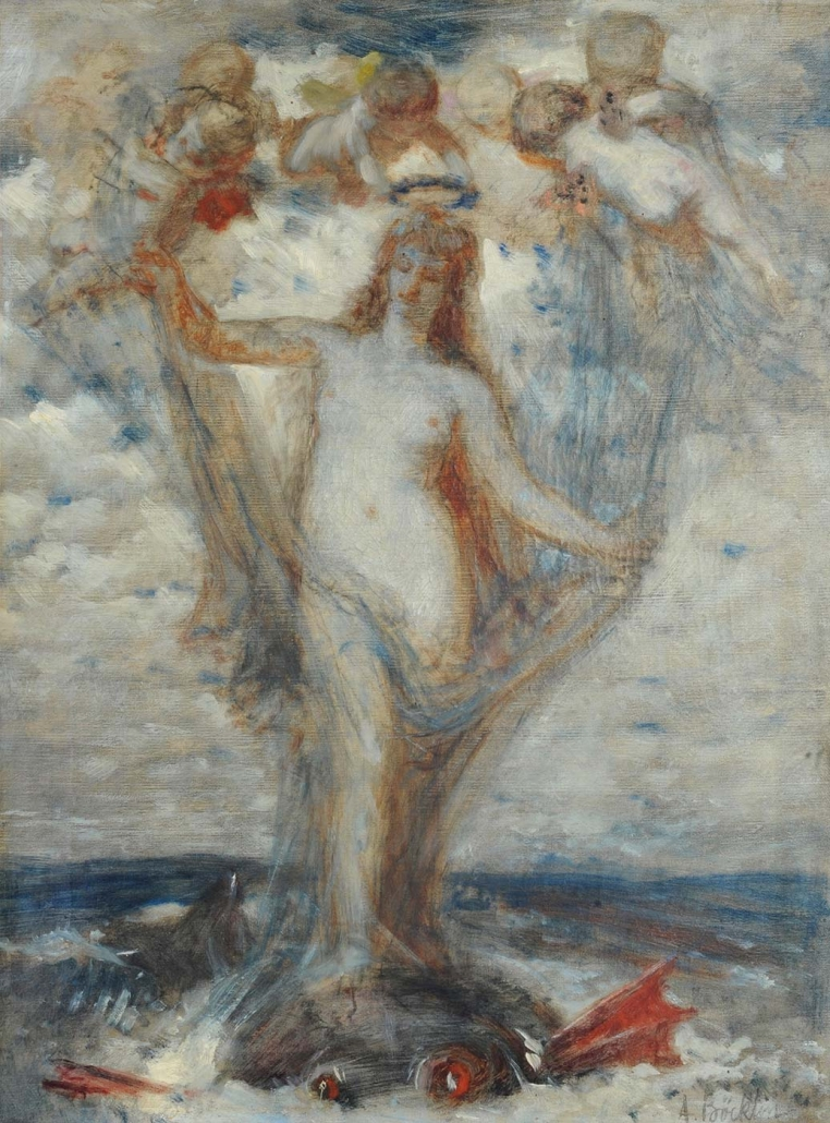 "Arnold Böcklin, Basel 1827 - San Domenico bei Fiesole 1901 ""Venus Anadyomene"" Museum Heylshof / Worms"