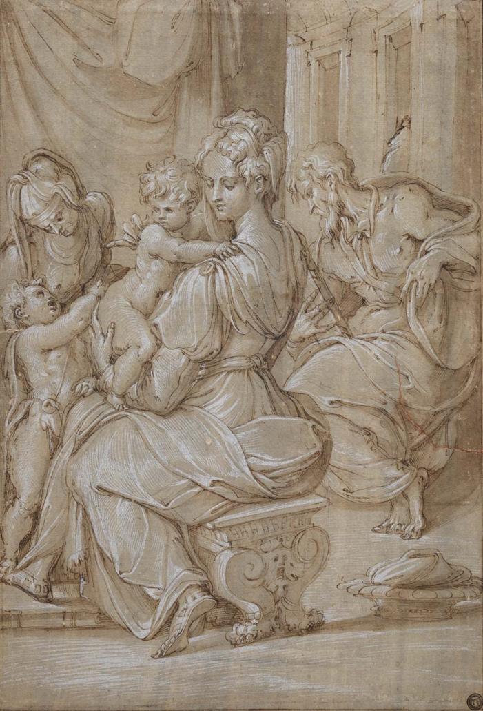 """Giorgio Vasari, Arezzo 1511 - Florenz 1574 """"Heilige Familie mit Elisabeth und Johannes"""" Museum Heylshof /Worms"""