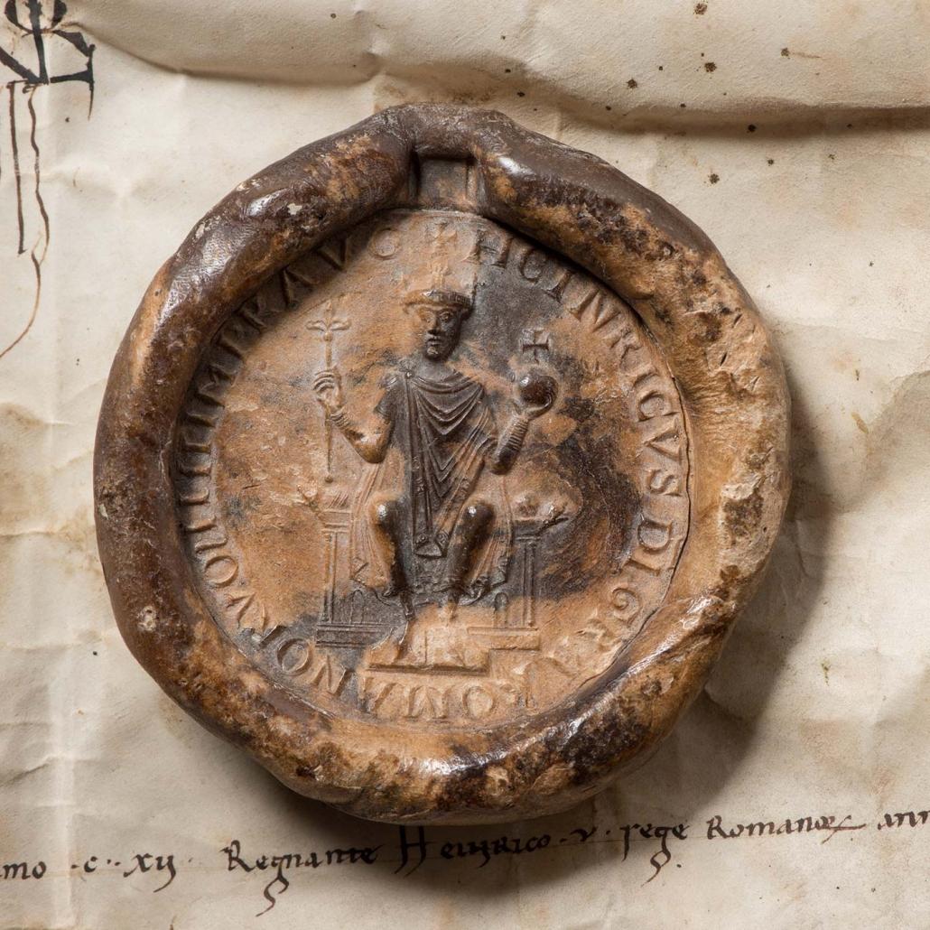 Siegel Kaiser Heinrichs V auf einer Urkunde für die Stadt Worms aus dem Jahre 1112 Stadtarchiv Worms