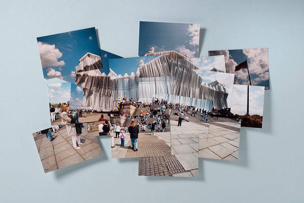 """Fotocollage """"Christo und Jeanne-Claude / Verhüllter Reichstag"""" - Berlin 2. Juli 1995"""